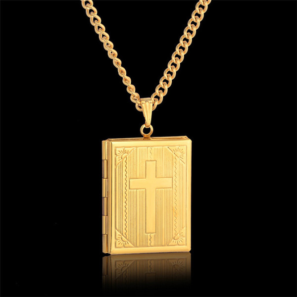 Fashion Bible Cross Locket Necklace Gold Color Crucifix Jewelry Memory Photo Box Locket Necklaces Pendants For Women/Men Gift