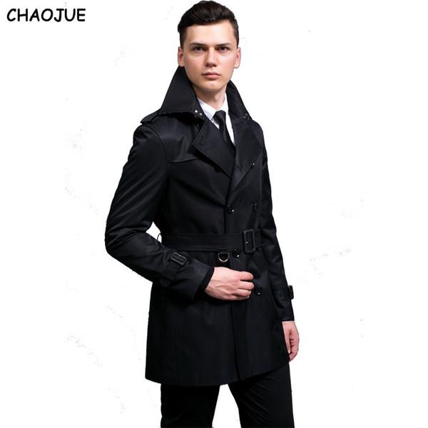 S-6XL Plus Size Duplo Breasted Preto Trench Coat Homens Slim Fit Bege Primavera Jaquetas Mens Comprimento Médio Casaco de Vendas Frete Grátis