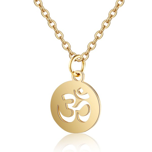 20pcs/lot 13 Styles Women Yoga OM Pendant Necklaces Mirror Polished 316L Stainless Steel Necklace Lotus Charm Necklace Wholesale