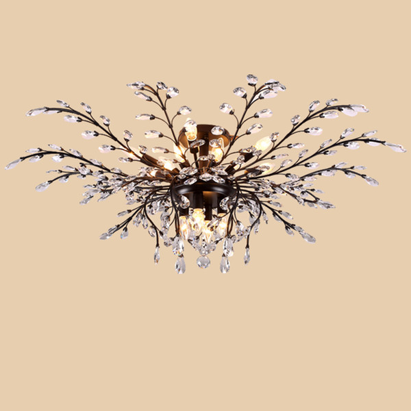 led chandelier light fixtures iron crystal ceiling lights 16 heads up/down light black/bronze chandeliers home decor american village style