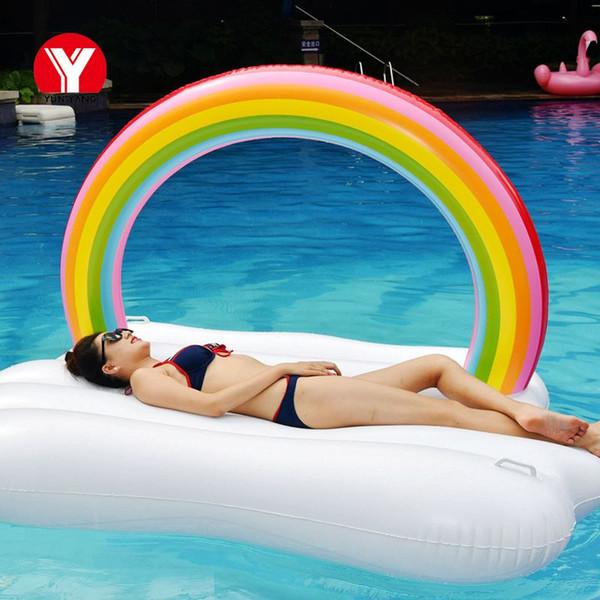 Piscina inflável gigante Float inflável do arco-íris Nuvem Flutuador Beach Party inflável para Pool Water Swim Party Brinquedos Anel