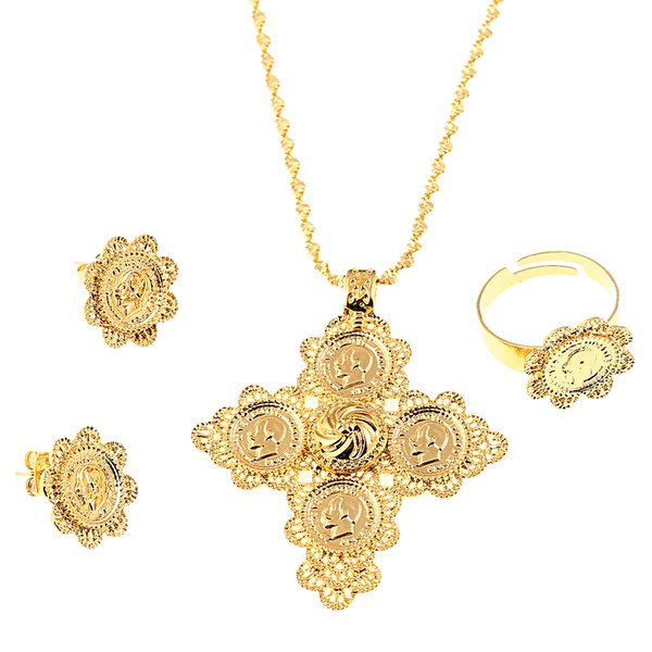 4eb284ce37e61 2019 Ethiopian Cross Jewelry Set Women Men Gold Color Jewelry Africa Coin  Cross Eritrea Habesha Jewelry Set From Nanvsfeng2007, $15.07 | DHgate.Com