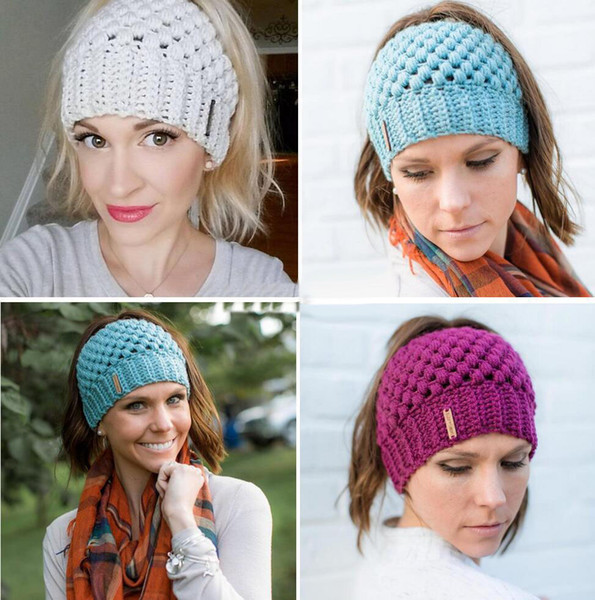 New Women Ponytail Beanies Hand Made Back Hole Pony Tail Knitted Hats Winter Warm Crochet Skull Beanie 6 Colors