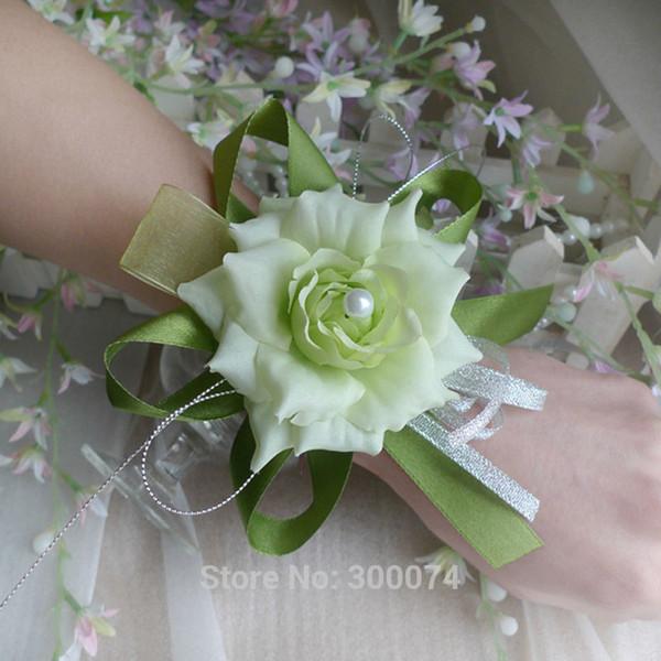 6pcs Wedding Flowers For Hand Artificial Silk Rose Wrist Corsage Bride Bridesmaid Flower Corsage Prom Decoration Flores