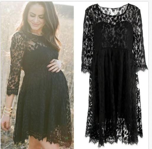 New Arrival Black Lace Maternity Dresses Long Sleeve Pregnancy Dresses Clothes for Pregnant Women Summer Auntumn