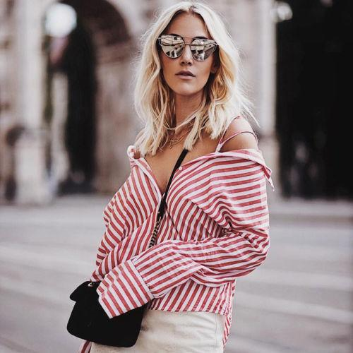 Women's Loose Long Sleeve Cotton Casual Blouse red white striped Shirt Fashion women clothes