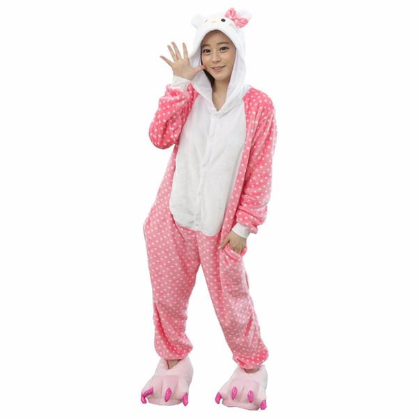 2017 Cute Dot Hello Kitty Cat Pajamas For Women Cartoon Pajamas Winter Autumn Animal Onesie Warm Homewear Sleepwear Sets