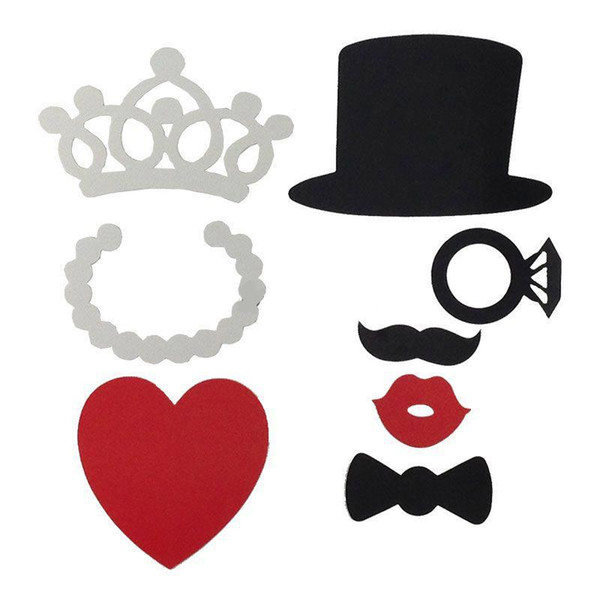 2016 New 8pcs/set DIY Party Fun Masks Photo Booth Props Fun Hat Mustache Lips Glasses On A Stick Bride Wedding Shows Props