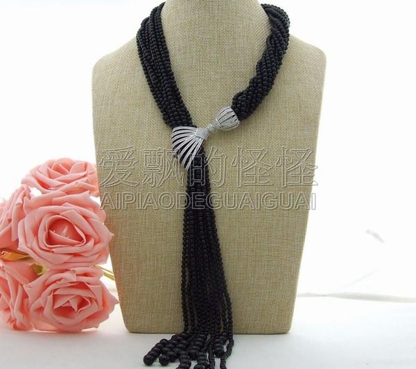 "N123101 19"" 9 Strands Round Onyx Necklace CZ Pendant"