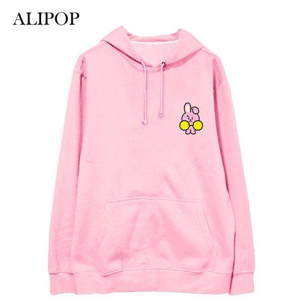 ALIPOP Kpop BTS BT21 Bangtan Boys Album Thin Hoodie Sudaderas con capucha de algodón con sombrero Pullover Impreso camisetas de manga larga WY606