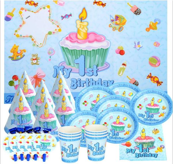 51 teile / satz Ersten Geburtstag jungen / mädchen 1 geburtstagsparty dekoration platte tasse stroh servietten tischdecke für 6 kinder party supplies
