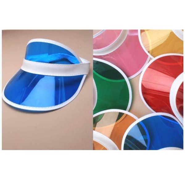 6pcs/lot Summer holiday neon sun visor sunvisor party hat clear plastic cap D18103006