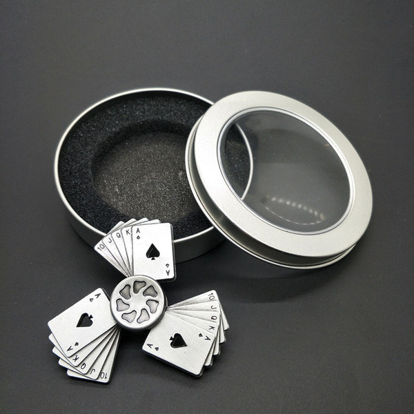 Free shipping Vintage playing cards Straight flush Fingertip gyro metal Three leaves alloy Finger toys adult child Unzipping toys