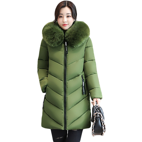 26887f243afc Wholesale- 2017 Women Winter Large Fur Hooded Parkas Female Thick Warm  Cotton Coat Women Wadded