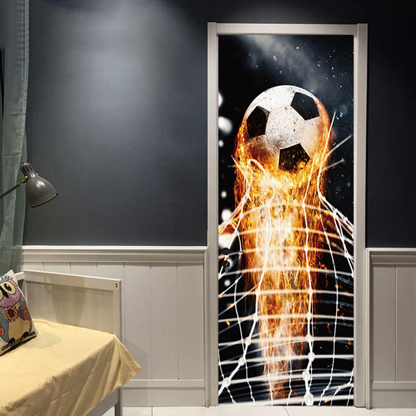 DIY Art Firing Football Through Wall Sticker Kids Room Decoration Home Decals Soccer Door Decal Funs 3D Mural Art Sport Game Pvc Poster