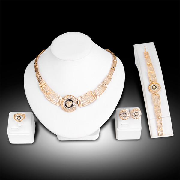 Jewelry set fashion vintage 18k gold plated diamond rhinestone lion head 4 pcs set earring ring bracelet necklace jewelry