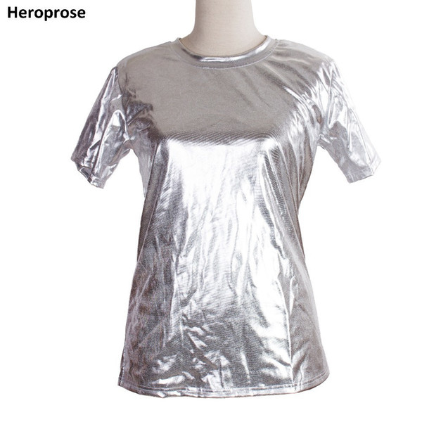 Heroprose New Fashion 2018 Summer Unisex dance Top ds clothes performance wear Silver hip hop Short sleeve T shirt