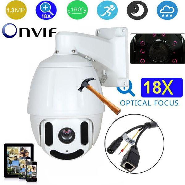 7 inch HD 960P 1.3 megapixels 18X zoom IP Medium Speed dome Camera 100m IR night vision outdoor waterproof security camera