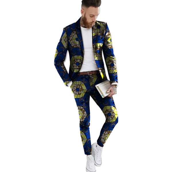 African Print Formal Blazer And Pant 2Pieces Set Men Blazers African Ankara Suit Jacket Festive For Party Men Clothing