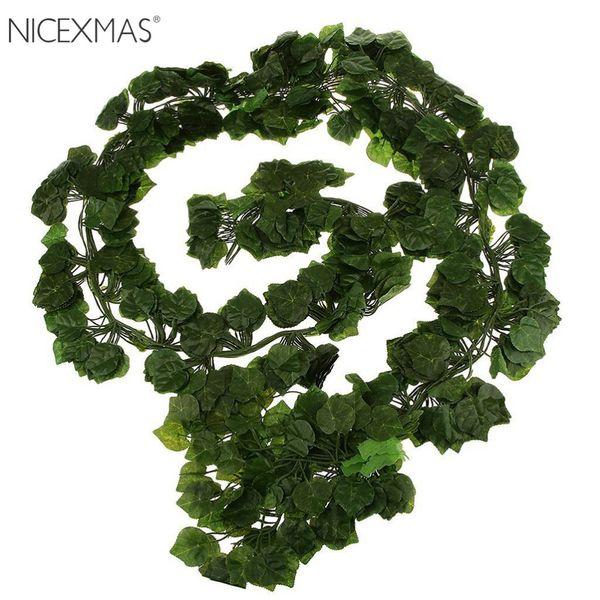 12pcs 6 .5ft Artificial Ivy Leaf Garland Plants Vine Fake Foliage Flowers For Home Garden Wedding Decoration Rattan Leaf Vine
