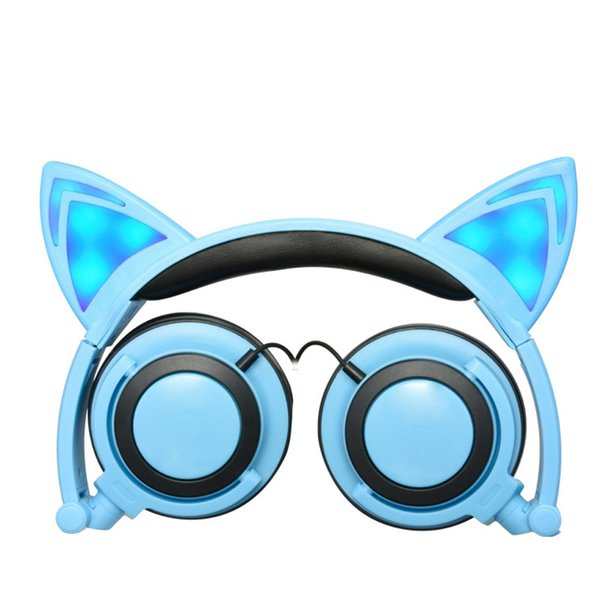 Cute Cat Ear Headphones with LED light Foldable Flashing Glowing Gaming Elf Headset Music MP3 Earphone For PC Laptop Computer Mobile Phone