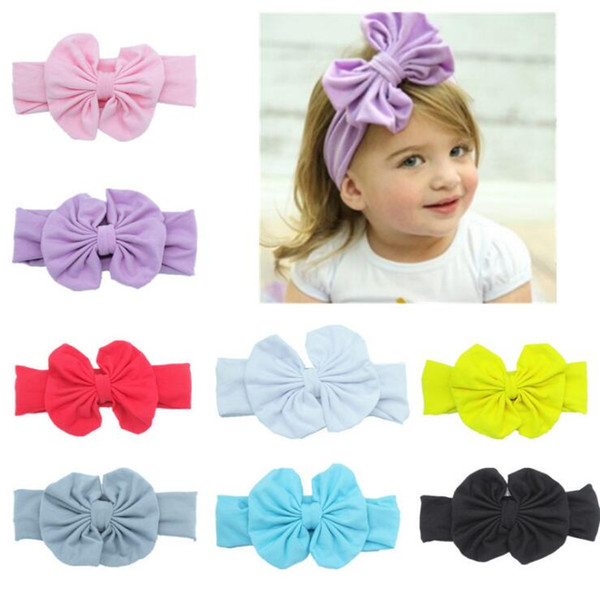 INS 8 Colors Baby Bow Headband Europe Style Turban Knot Elastic Head Wraps Hairbands Infant India Beanie Kids Winter Hair Accessories #014