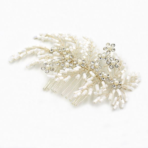 Flexible And Bendable White Wedding Hair Combs Rhinestone Pearl Handmade Delicate Bridal Headpieces Tiaras Bridal Accessories