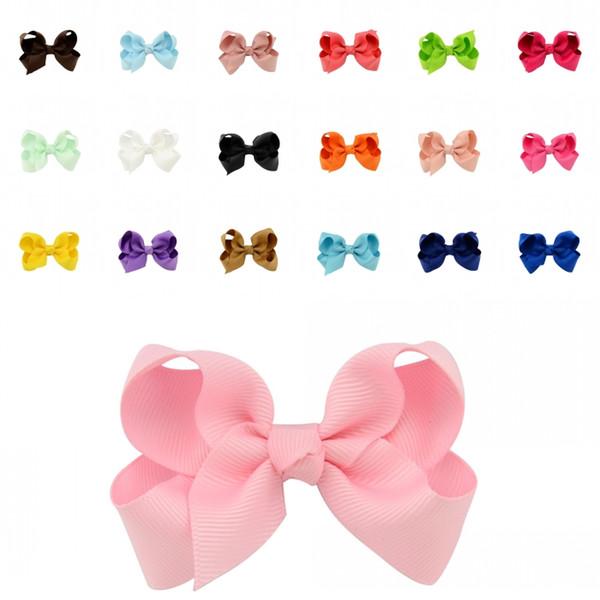Bowknot 20 Colors Boutique Girls Hair Bows Grosgrain Ribbon Bows With Hair Clips Girls Hair Accessories Duckbill folder D497Q