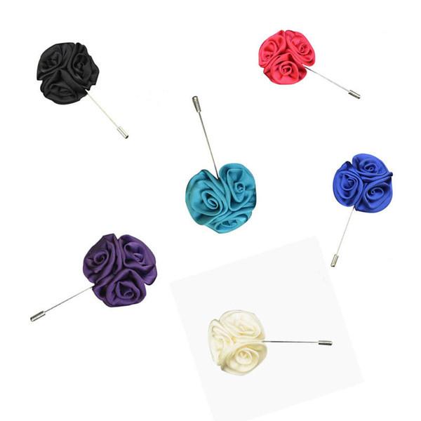 Hecho a mano de seda hombres broche ramilletes de flores artificiales de Rose de seda Ramilletes de boda decoración de la ropa por el regalo