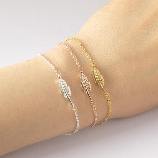 Wholesale- DIANSHANGKAITUOZHE Bracelet Femme 2016 Jewelry Vintage Pulseras Gold Colour Silver Simple Leaf Feather Bracelet For Women