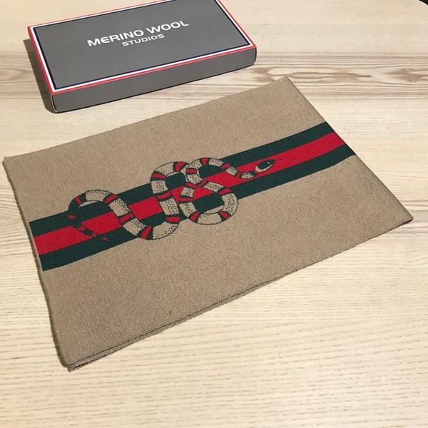 2018 novo cachecol de lã dos homens bordados marca de moda cobra moda casual cachecol dos homens high-end caixa de presente