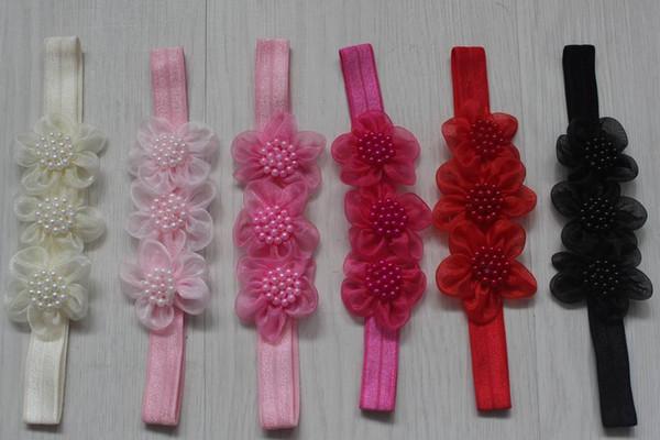 50 adet 5 cm Kızlar Için Tül Mesh Kumaş Çiçek Bantlar Saç Aksesuarları, Çocuklar için elastik Bandı Çiçekler, Kızlar Headbands