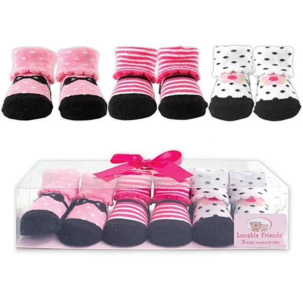 3pairs / lot Kindersocken Baby NewBorn Jungen-Mädchen-beiläufiger Winter Meias Infantil Baby-Geschenk-Satz Antibeleg-Socken