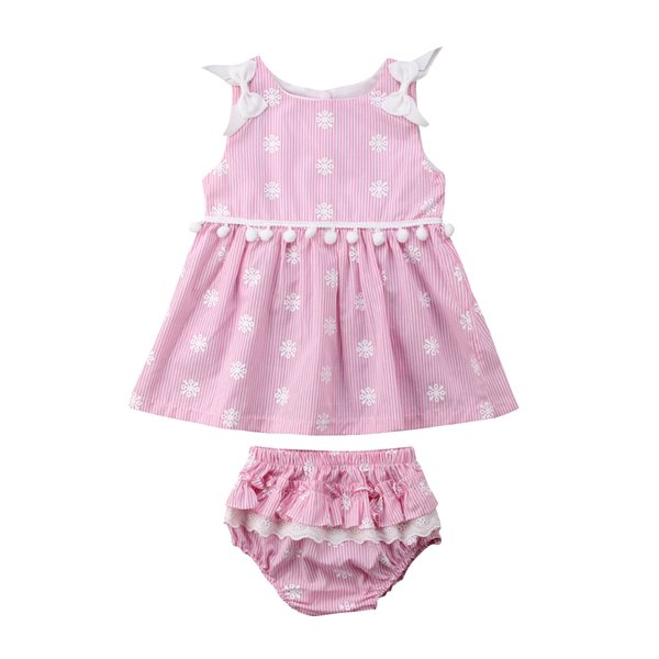 Newborn Baby Girl Sleeveless Coon Cloth Set Floral Dress + PP Shorts Lace 2PCS Sets Kids Underpants Summer Outfits Clothes