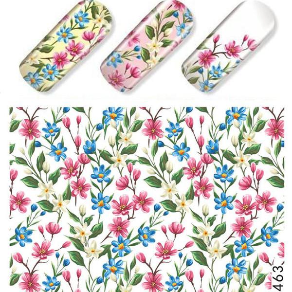 1 Blatt schillernde Blume Rebe Aufkleber Nagel Wasser Aufkleber rosa lila Sommer Designs für polnische Dekor holographische Aufkleber TRSTZ463