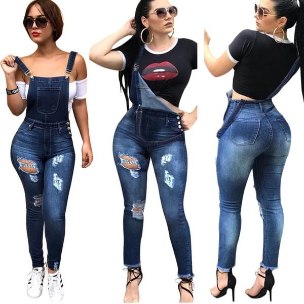 Kadın Delik Kot Tulumları Ile Kot Tulumlar Tulum Yırtık Mavi Ince Sapanlar Pantolon önlük ve brace genel