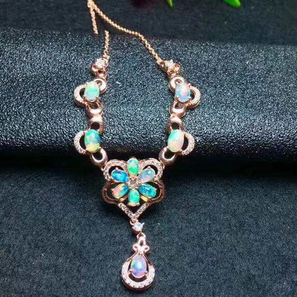 Natural Orb necklace chain Group with multiple opals Deluxe Style 925 sterling silver Banquet ball style