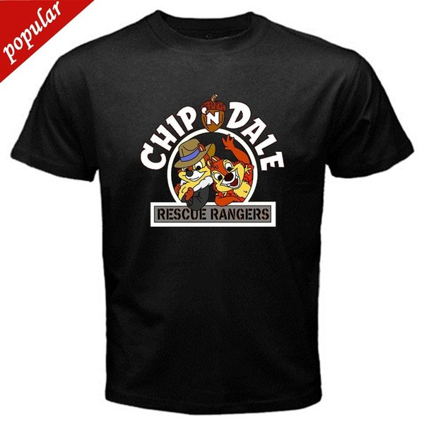 New Fashion Style Design T Chip n Dale old school cartoon classic tv series T-Shirt Black Basic Tee O-Neck Short-Sleeve T Shirts