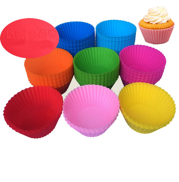 Silicone Cupcake Mould 7Cm Muffin Cupcake Mould Colorful Round Shape Bakeware Maker Mold Tray Baking Cup Liner Molds
