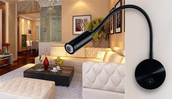LED Reading Wall Lamps Knob Switch 85-265V 3W Modern Bedroom Bedside Lamp Black Silver Light Body 360 Degree Angle Adjustable