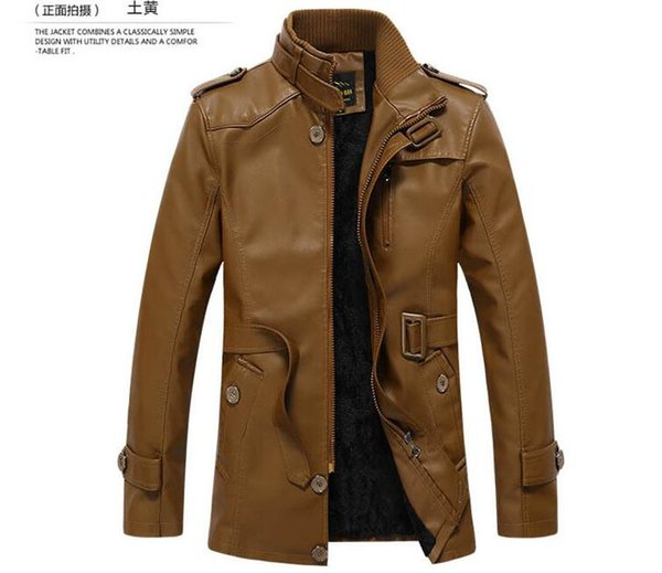 2018 new European and American men's washed pu leather plus velvet warm men's quality jacket