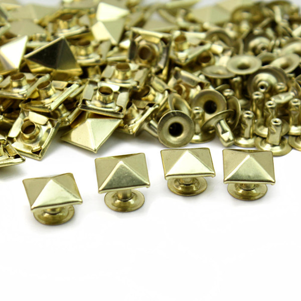 Metal Gold Tone Square Pyramid Rivet Studs Spikes Punk Rock DIY Bags Shoes Clothes Decor Leathercraft New Clothes Sewing accessories 100pcs