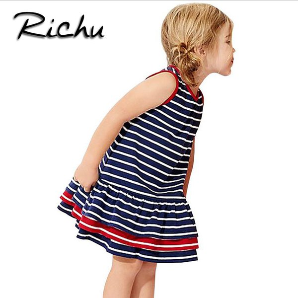 Richu striped dress for girls sleeveless for summer princess dress girls costumes for kids children clothes cotton Made in China wholesale