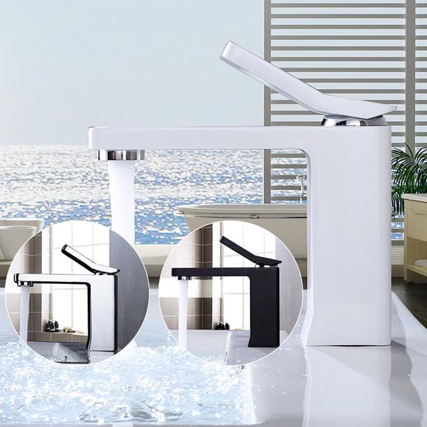Bad Wasserhahn Schwarz Tap Modern Squre Wasserhahn Weiß Waschbecken  Wasserhahn Messing Waschtischarmatur Bad Waschbecken Wasserhähne HotCold