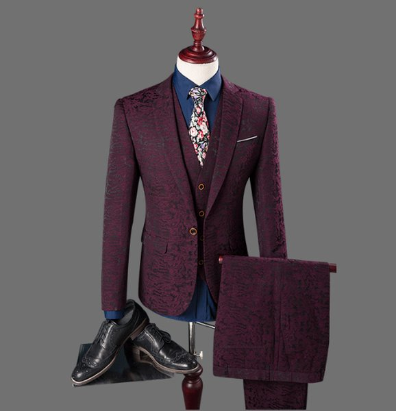 3 Pieces Gentleman Style Men Prom Suit Red Groom Wedding Suits Slim Fit Dress Groom Tuxedos Business Formal Suit