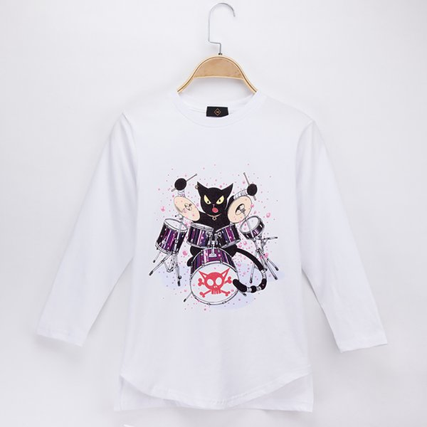 2018 Fashion Nova Kids Clothes Children T-shirt Jazz Drum kit Cat Rock 100% Cotton Full Boy Long Sleeve T Shirts Baby Girl Tops Child Shirt