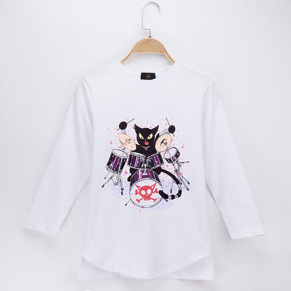 2018 Mode Nova Enfants Vêtements Enfants T-shirt Jazz Drum kit Cat Rock 100% Coton Plein Garçon À Manches Longues T-shirts Bébé Fille Tops Enfant Chemise