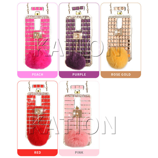 Diamond Rhinestone Perfume Case Cover Rabbit Hair Fur Ball Chain Perfume bottle Case For LG Stylo 4 Aristo2 K10 2018/K30 Phone Case