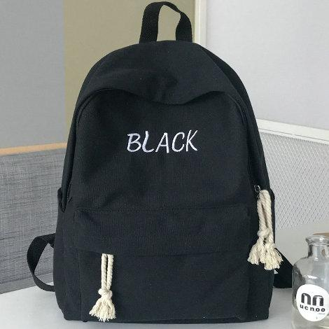Black backpack Embroidery word school bag Simple plain color daypack Canvas schoolbag Outdoor rucksack Sport day pack