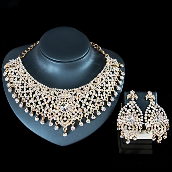 2018 LAN PALACE african wedding gold color austrian crystal necklace and earrings jewelry set india jewelry